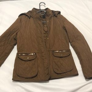 Zara Quilted Tan Jacket Size M